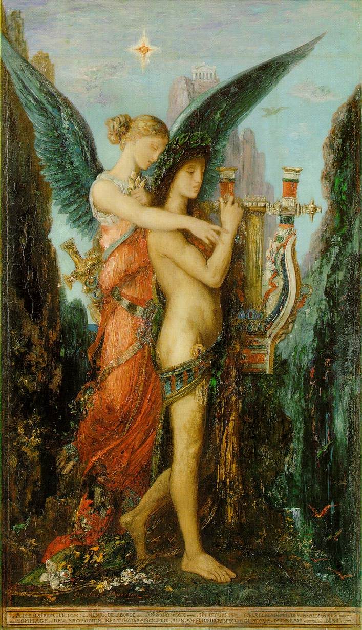 """Gustave Moreau's """"Hesiod and the Muse"""" (1891), oil on panel. Musée d'Orsay, Paris."""