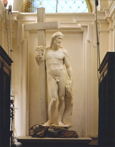 """Michelangelo's """"Risen Christ"""" – the earlier version, sans loincloth and with a different pose from the later version"""