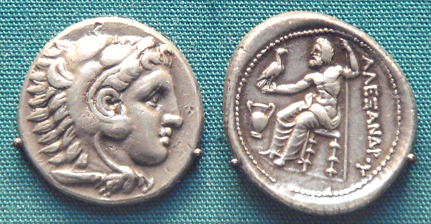 Coin of Alexander the Great with the lion's head of his ancestor, Heracles (Hercules). British Museum.