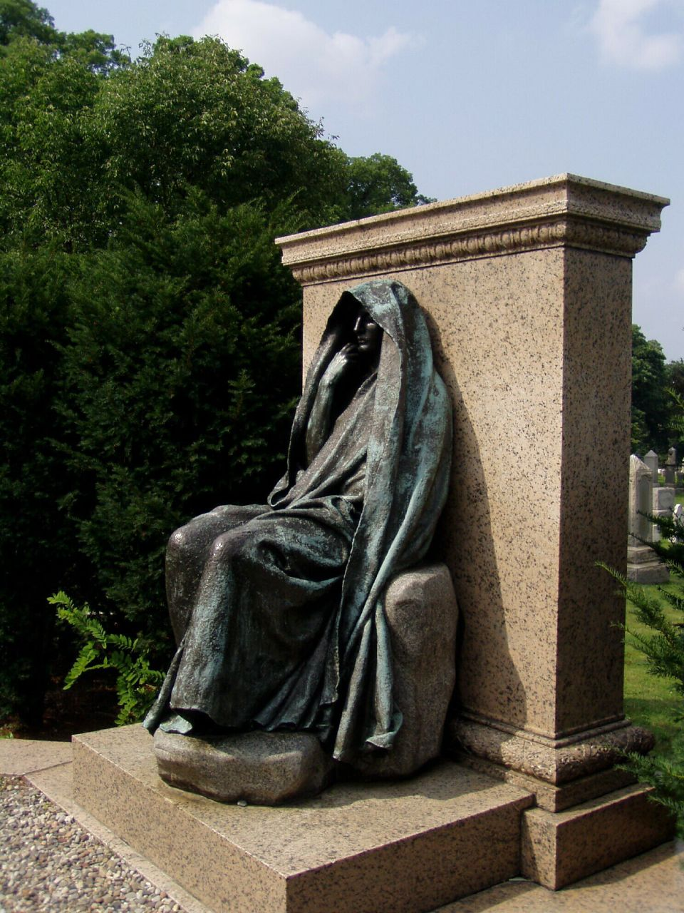 "Augustus Saint-Gaudens' sculpture for the grave of Marian ""Clover"" Hooper Adams, Rock Creek Cemetery, Washington D.C."