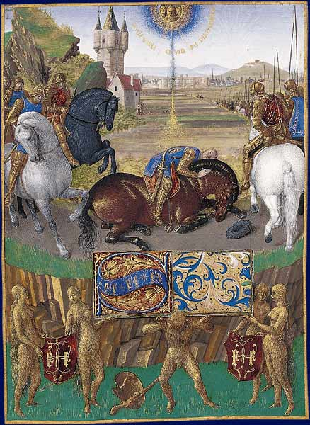 "Illumination depicting St. Paul's conversion on the road to Damascus, from ""Livre d'Heures d'Étienne Chevalier"" (circa 1450–1460), a  book of hours  by  Jean Fouquet  in the  Château de Chantilly  in France. While on the road, Paul, a persecutor of the early Christians, was temporarily blinded by a vision of Jesus. The players in the current Syrian civil war seem to have had no revelations of their own."