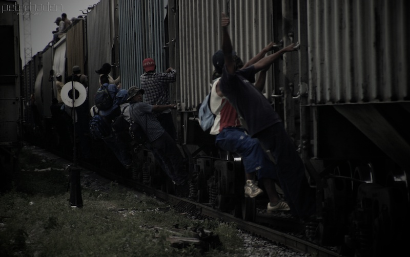 """Separated: Children at the Border,"" a new ""Frontline"" documentary, illustrates the dangerous practice of jumping on ""La Bestia,"" the freight train that will take migrants to the Mexico-U.S. border. Photograph by Peter Haden."