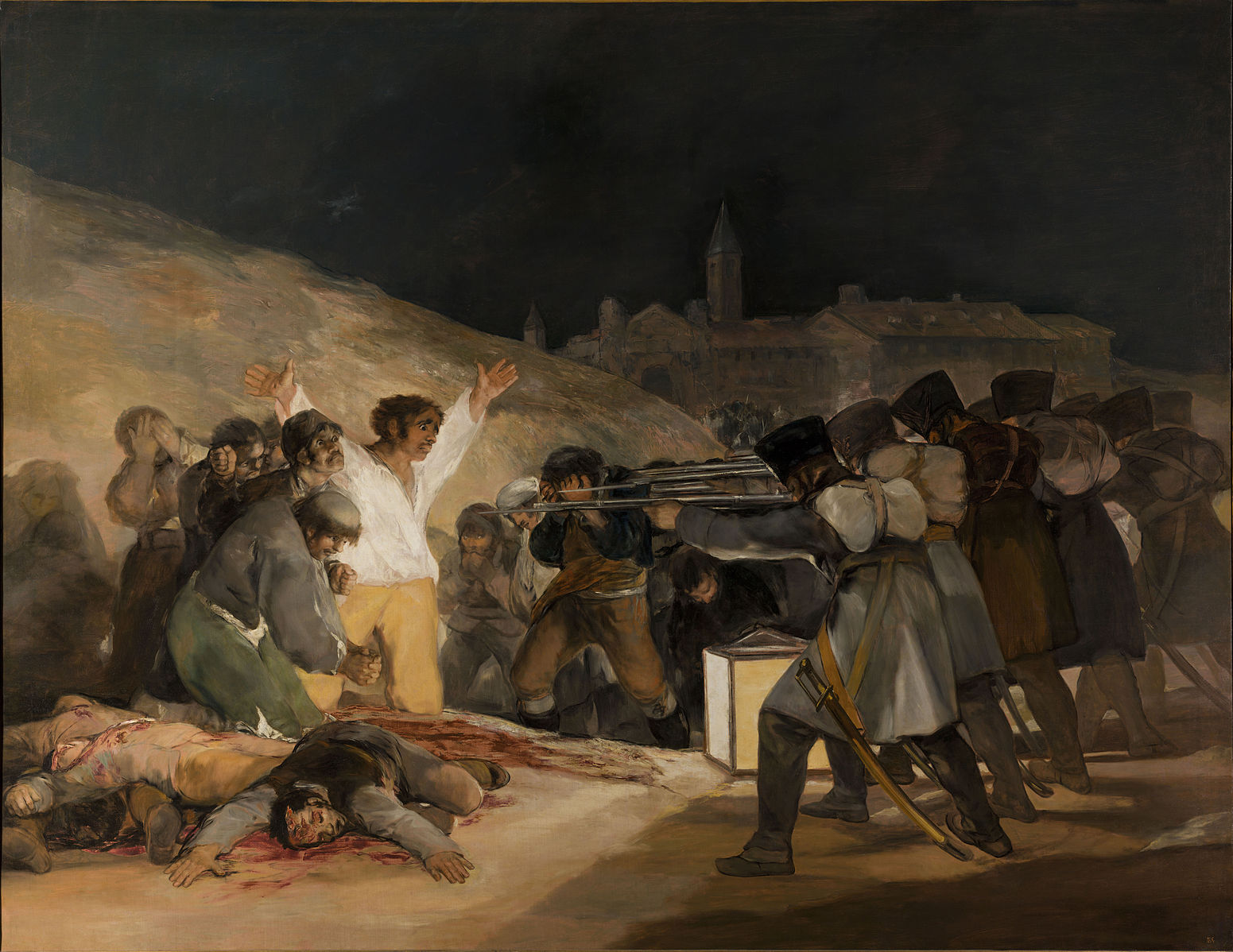 "Francisco Goya's ""The Third of May 1808,"" an 1814 oil on canvas in the Museo Nacional del Prado, commemorates the horrific response to Spaniards resisting Napoleonic rule"