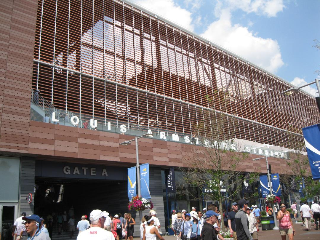 My photograph of the facade of the new Louis Armstrong Stadium, which has been a big hit with fans.