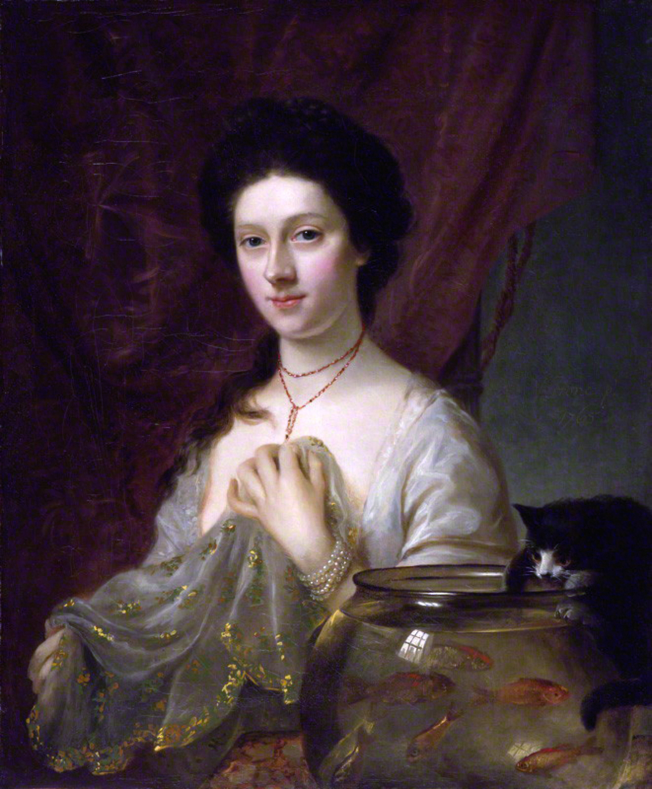 "Nathanial Hone the Elder's ""Portrait of Catherine Maria 'Kitty' Fisher"" (1763-64)."