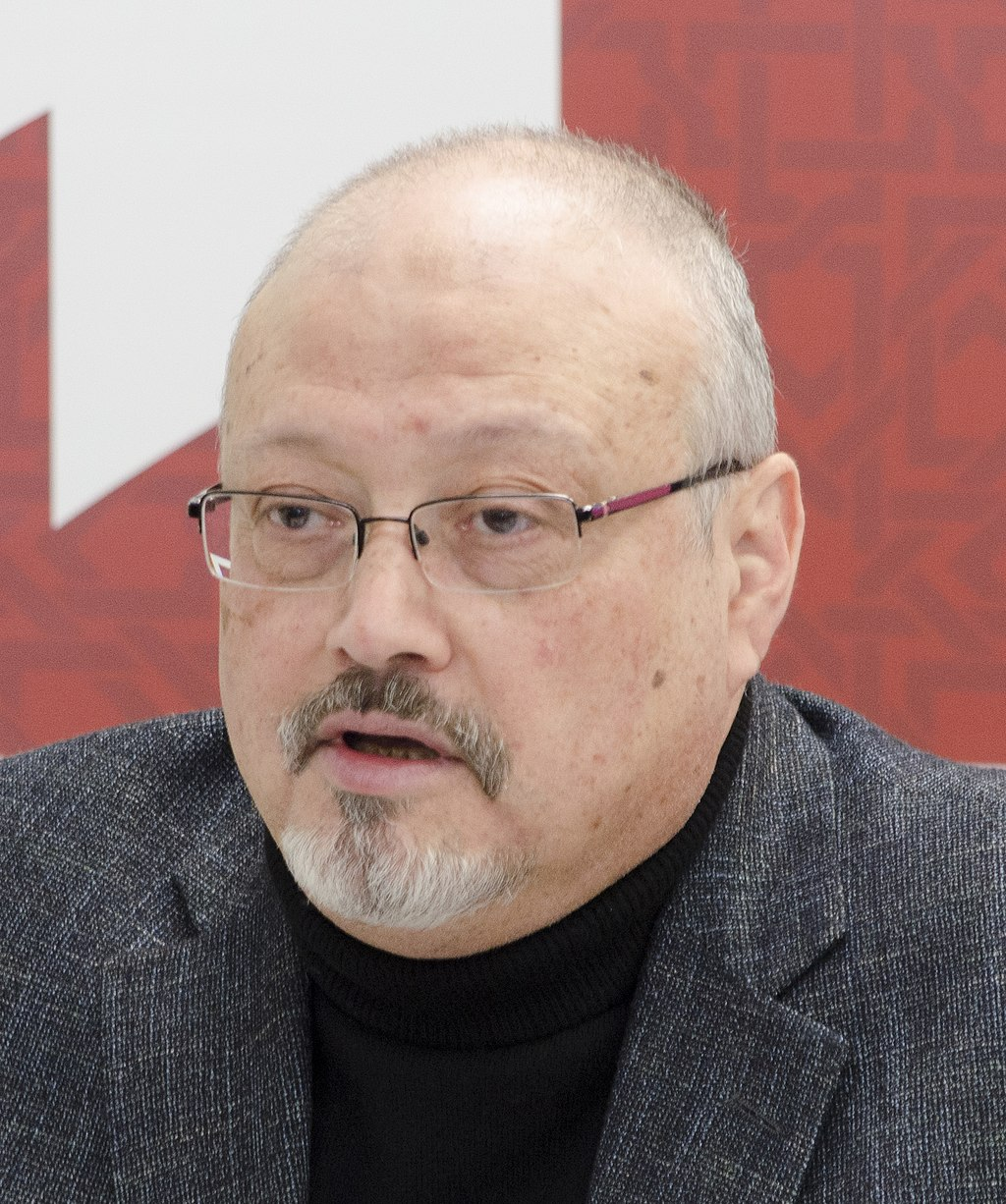 "Washington Post columnist Jamal Khashoggi at ""Mohammed bin Salman's Saudi Arabia: A Deeper Look,"" part of the March 21 Project on Middle East Democracy (POMED), Washington, D.C. Courtesy POMED>"