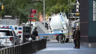 Police use a white sphere to remove a pipe bomb mailed to CNN's headquarterss in Manhattan. Courtesy CNN.