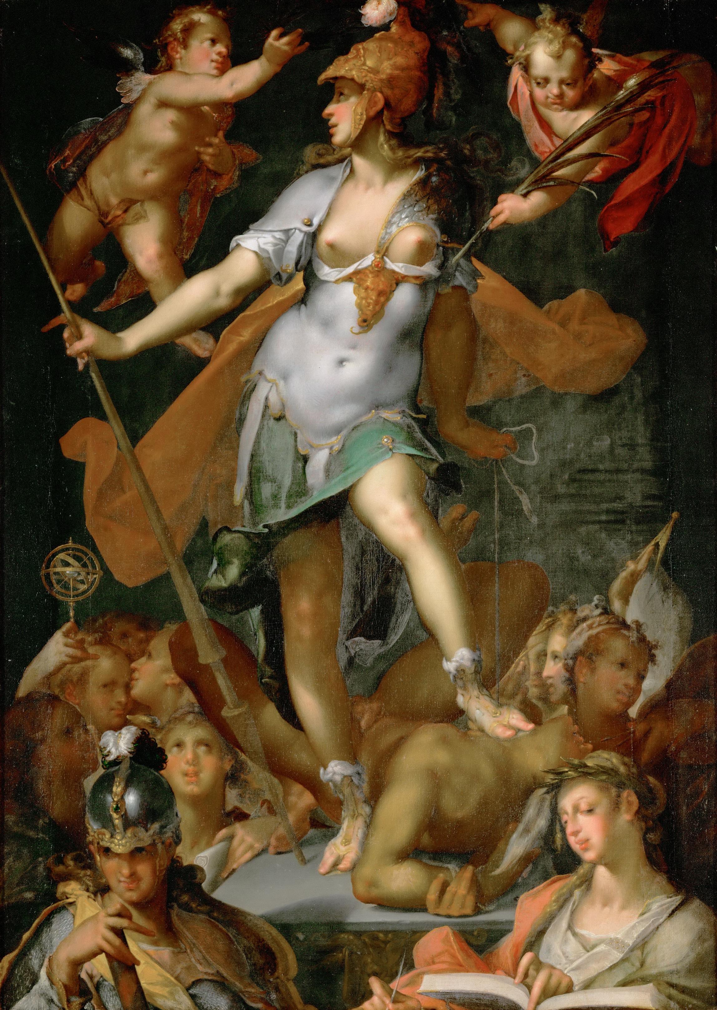 "Bartholomäus Spranger's ""Minerva (Athena) Victorious Over Ignorance"" (circa 1591), oil on canvas. Kunsthistoriches Museum."