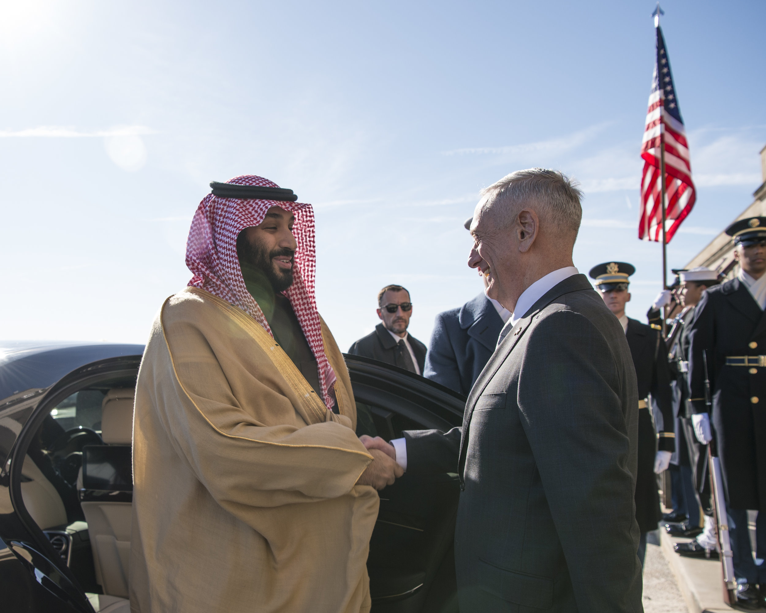 Saudi Crown Prince Mohammed bin Salman greets Secretary of Defense James Mattis earlier this year in Washington D.C. The Senate seems to have had it up to its bipartisan ears with the Trump Administration's defense of MbS, whom the CIA has implicated in the death of journalist Jamal Khashoggi. Photograph by Navy Mass Communication Specialist 1st Class Kathryn E. Holm.