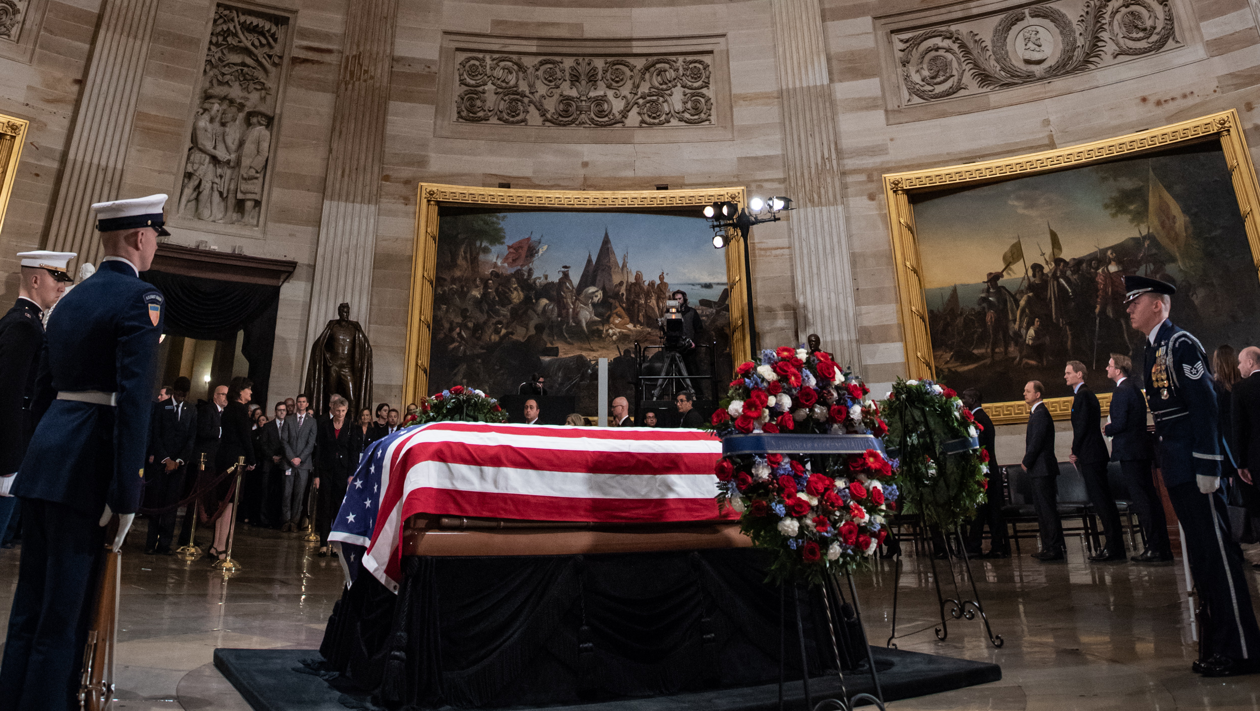 President George H.W. Bush lies in state at the Capitol. Photograph by Dana Barciniak.