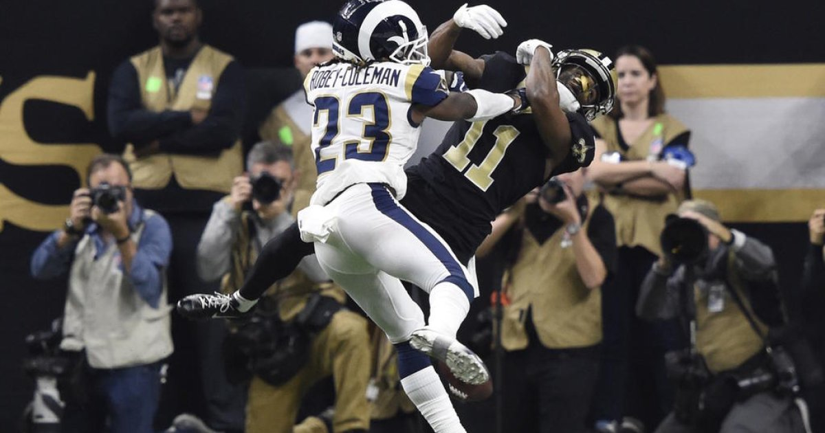 They're still talking about officials' failure to call pass interference on Rams cornerback Nickell Robey-Coleman in the NFC Championship game against the New Orleans Saints.  Photograph by John David Mercer.