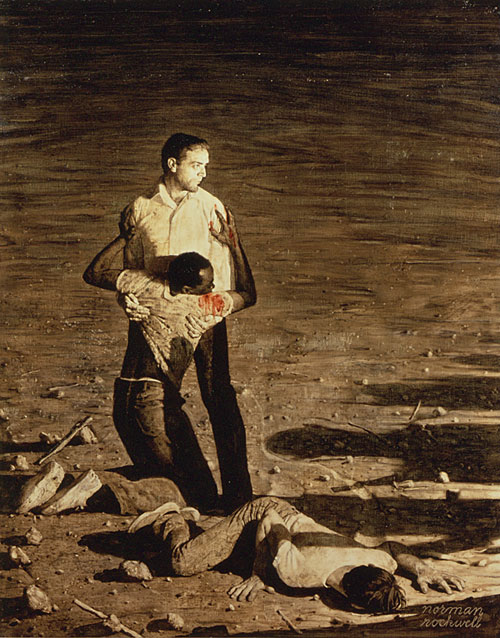 "Study for Norman Rockwell's ""Murder in Mississippi,"" an illustration that accompanied a June 29, 1965 Look magazine article about the June 21, 1964 murders of three civil rights workers in Philadelphia, Mississippi. Photograph by Louie Lamone. From the Norman Rockwell Museum."