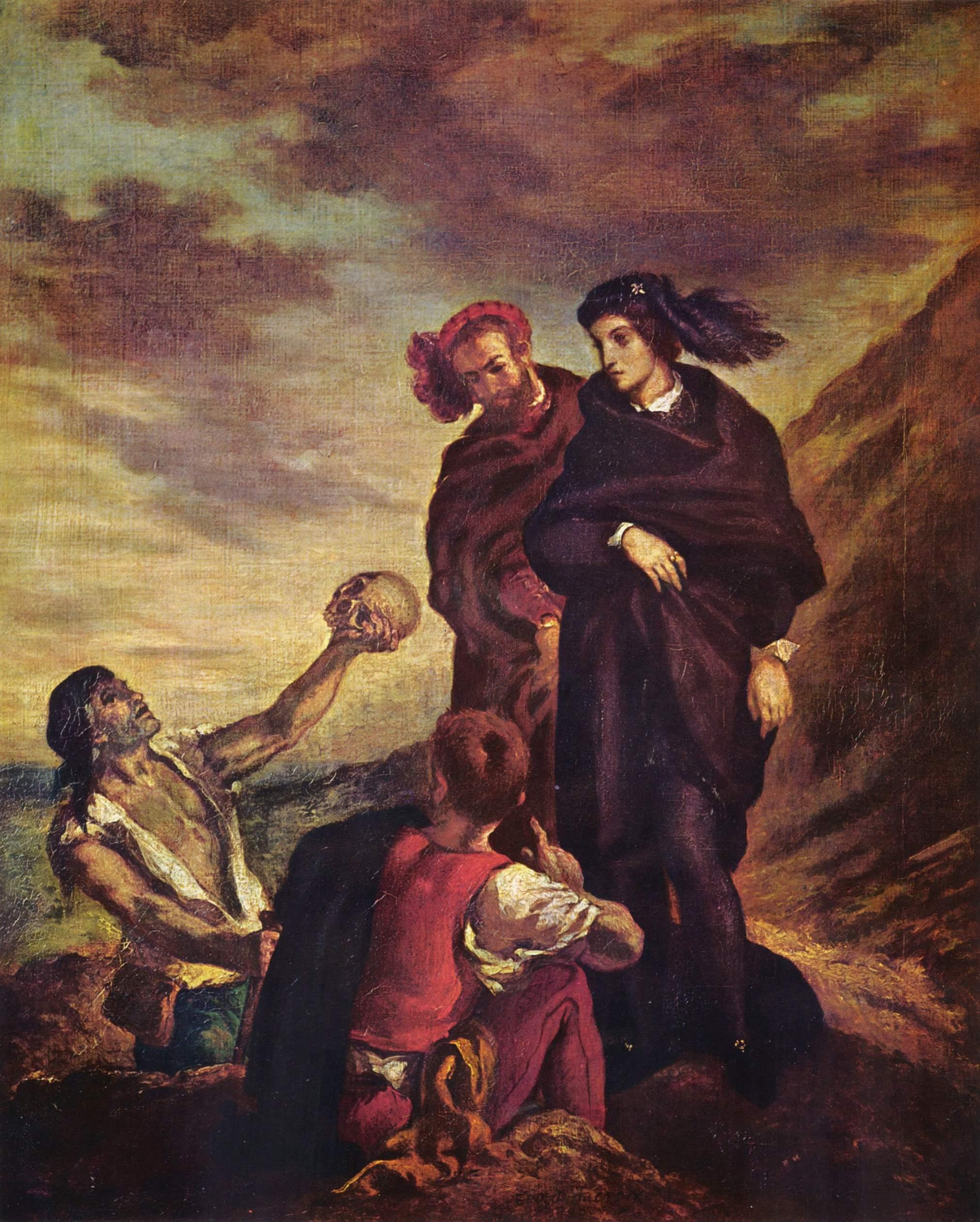 "Eugene Delacroix's ""Hamlet and Horatio in the Graveyard"" (1839), oil on canvas. Musée du Louvre."