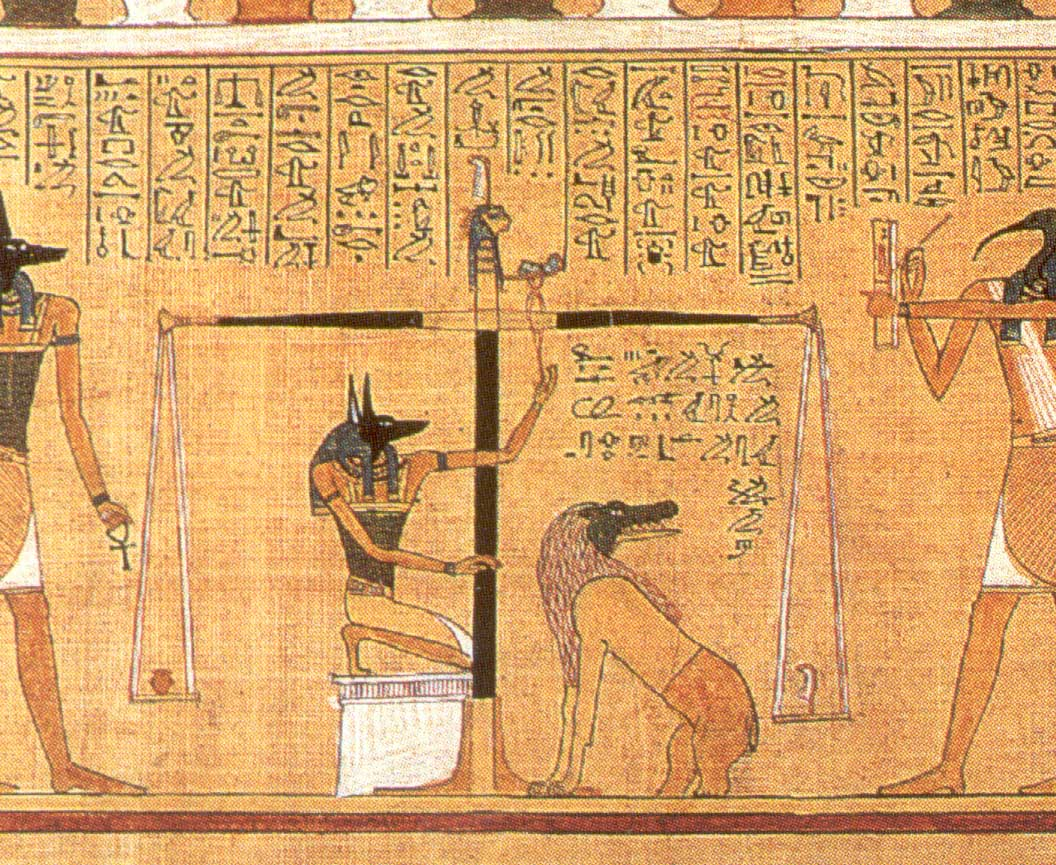"In ""The Egyptian Book of the Dead,"" the heart of the deceased is weighed against the feather of truth."