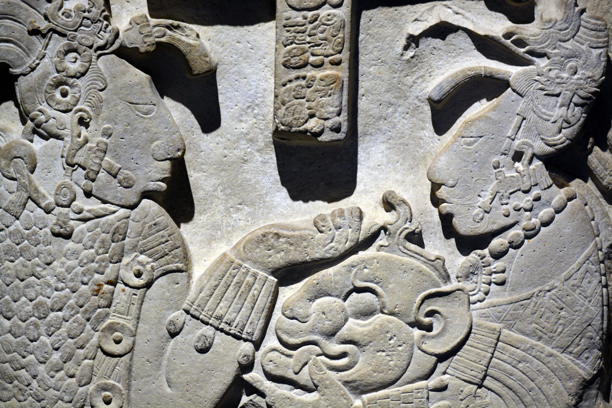 This lintel from the ancient city of Yaxchilán in what is now the state of Chiapas, Mexico conveys the richness and sophistication of Mayan civilization. Museo Nacional de Antropología, Ciudad de México.