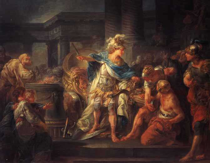 "Jean-Simon Berthélemy's ""Alexander Cuts the Gordian Knot"" (1767), oil on canvas. École nationale superiéure des Beaux-Arts. Some say Alexander the Great saw where the knot was pinned and so released it; others, that he impatiently cut it with his sword. Either way, he fulfilled the prophecy that whoever unraveled the knot would become lord of Asia. Where's an Alexander now to solve the United Kingdom's tangled Brexit crisis?"