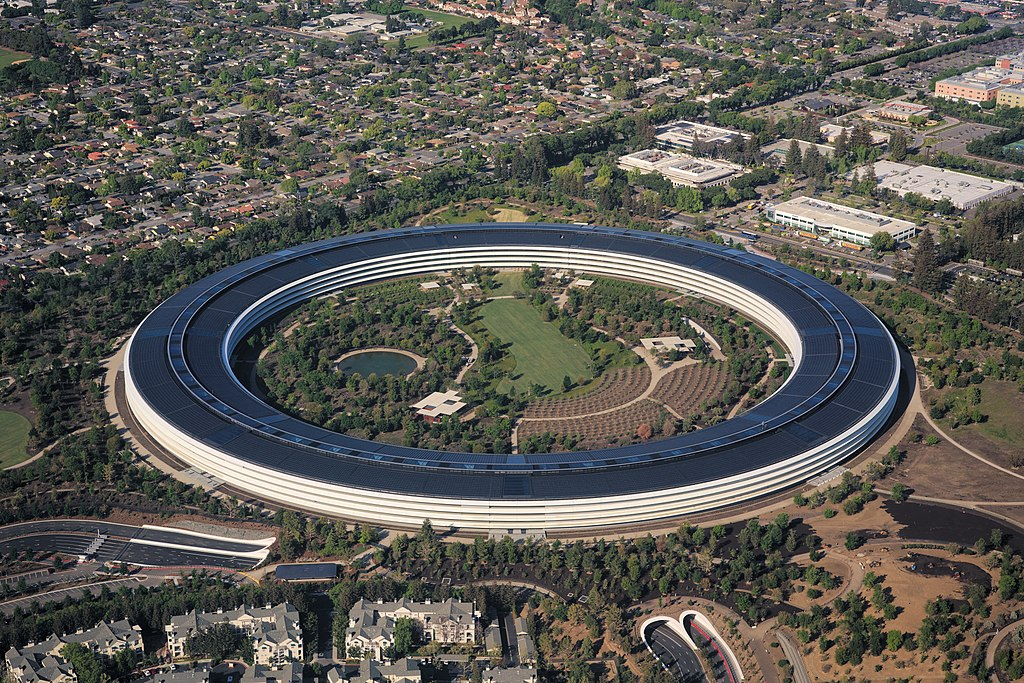 The vicious circle that is Apple. Here Apple Park, headquarters of the computer giant in Cupertino, California. Photograph by Daniel L. Lu.
