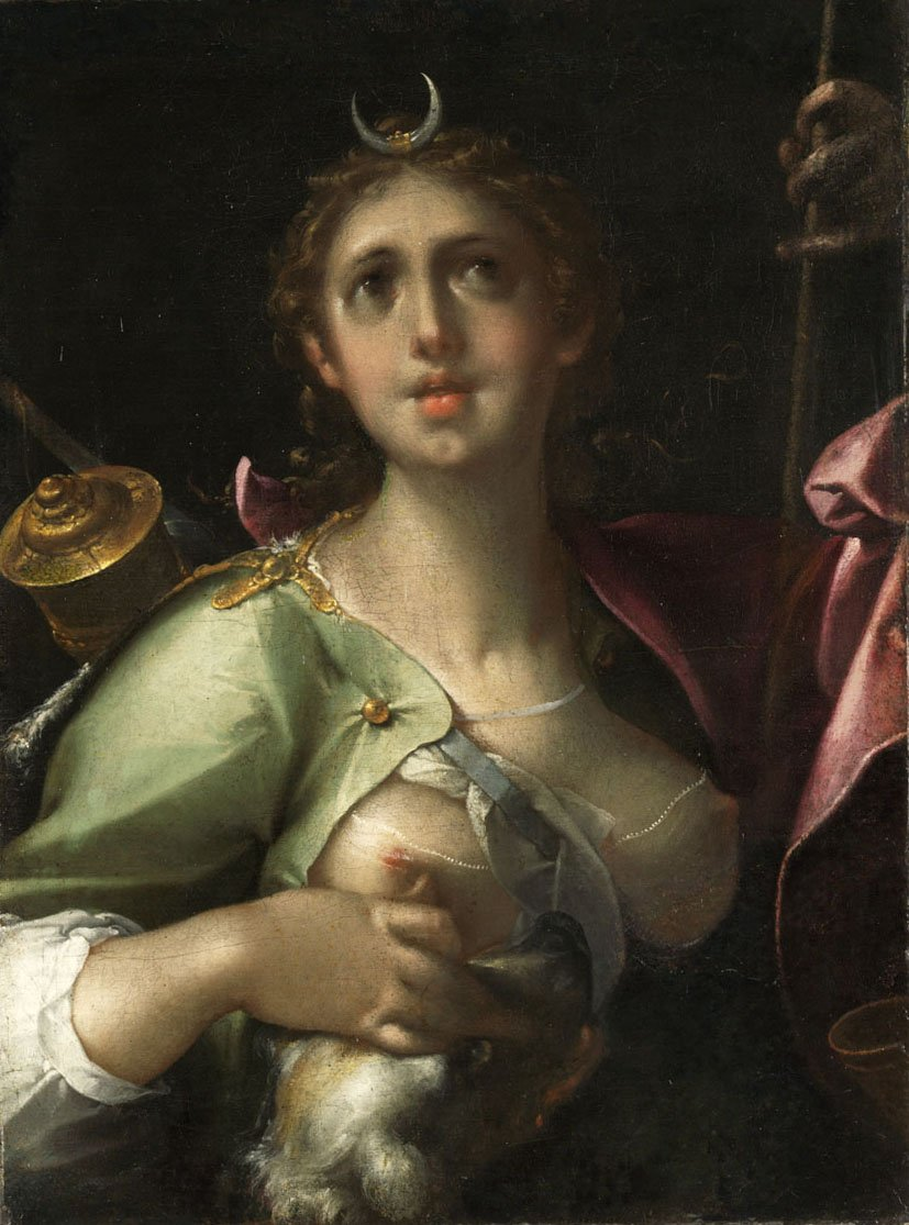 "Bartholomeus Spranger's ""Diana-Luna"" (1566-1611), oil on canvas. Museum of Fine Arts, Budapest. The work captures the way art eroticizes the virgin archetype."