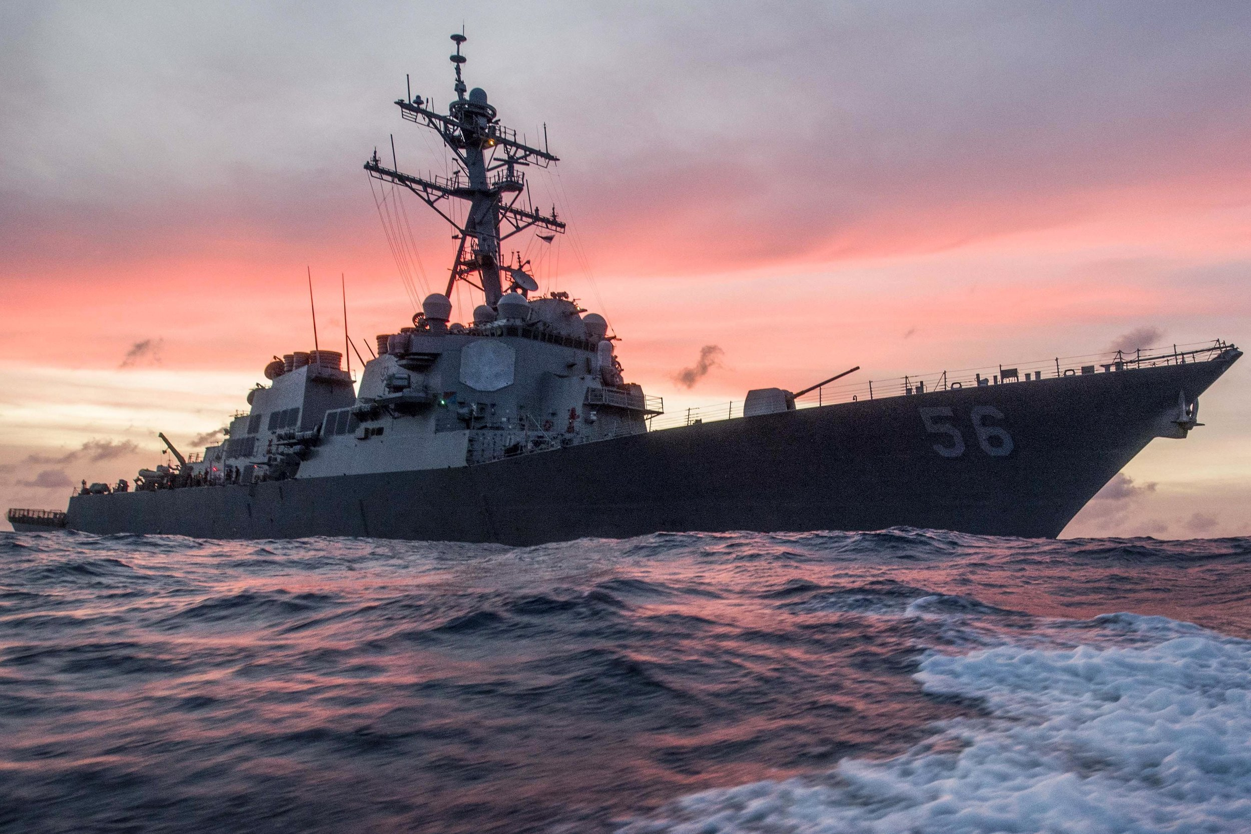 The USS John S. McCain conducts a routine patrol in the South China Sea, Jan. 22, 2017. . U.S. Navy photograph by Petty Officer 3rd Class James Vazquez.