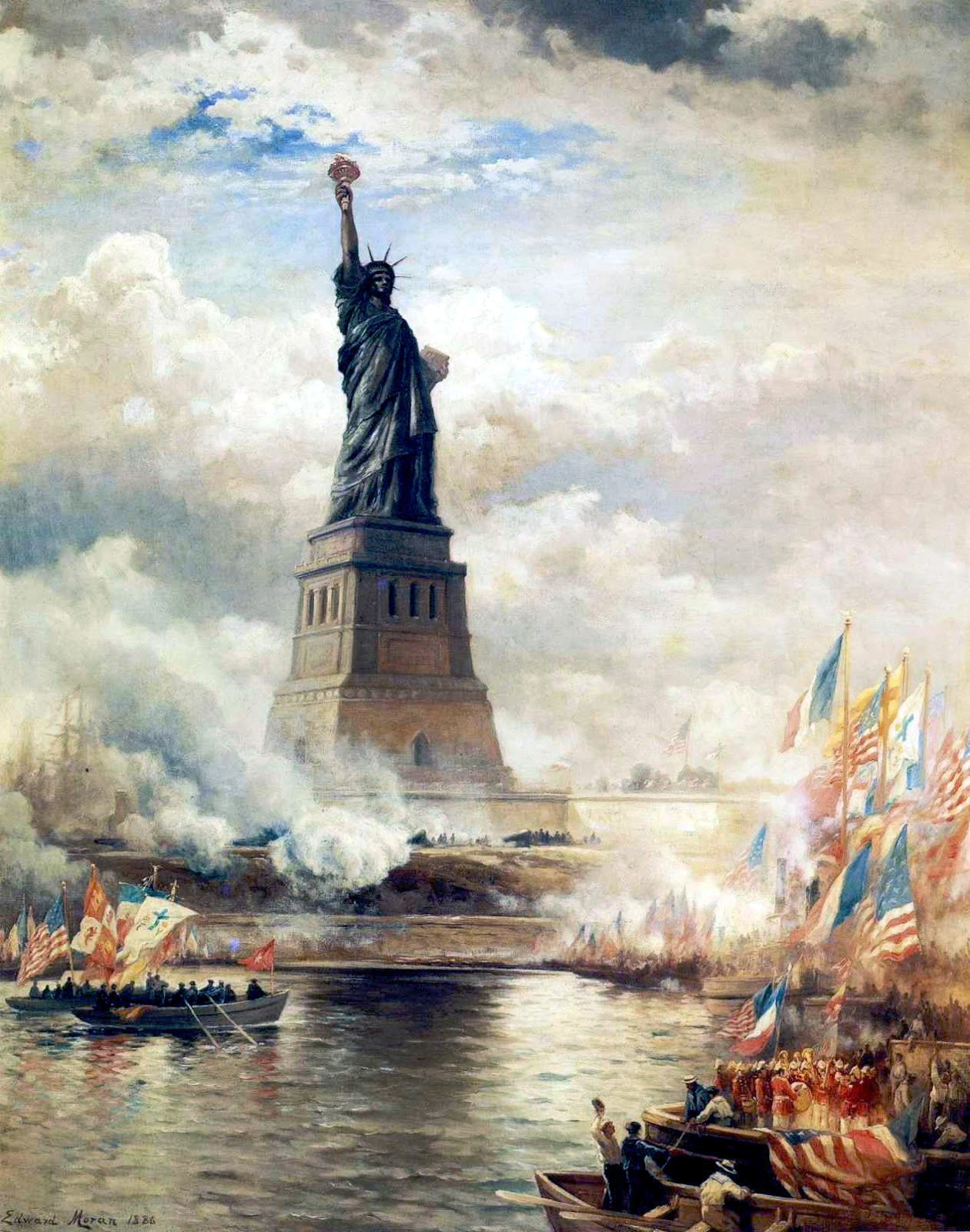"Edward Moran's ""Unveiling of the Statue of Liberty Enlightening the World"" (1886), oil on canvas. The J. Clarence Davies Collection, Museum of the City of New York. Originally gifted to America by France as a symbol of the preservation of the Union, Lady Liberty has come to represent a light to the hopeful — and hopeless — immigrants of the world."