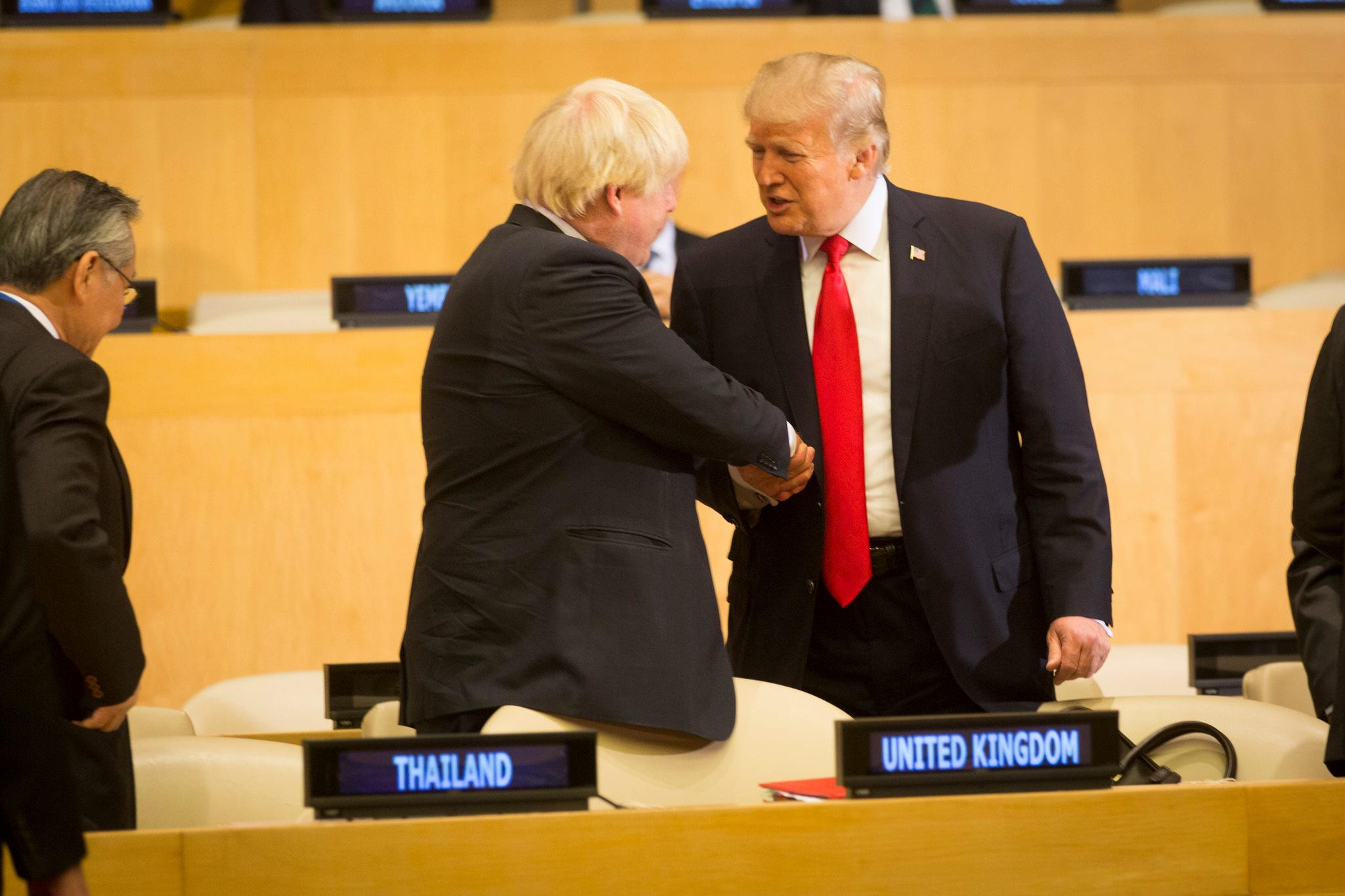 Blondie ambition: Then British Foreign Secretary Boris Johnson greets President Donald J. Trump at the United Nations General Assembly, Oct. 2 2017. White House photograph by D. Myles Cullen.