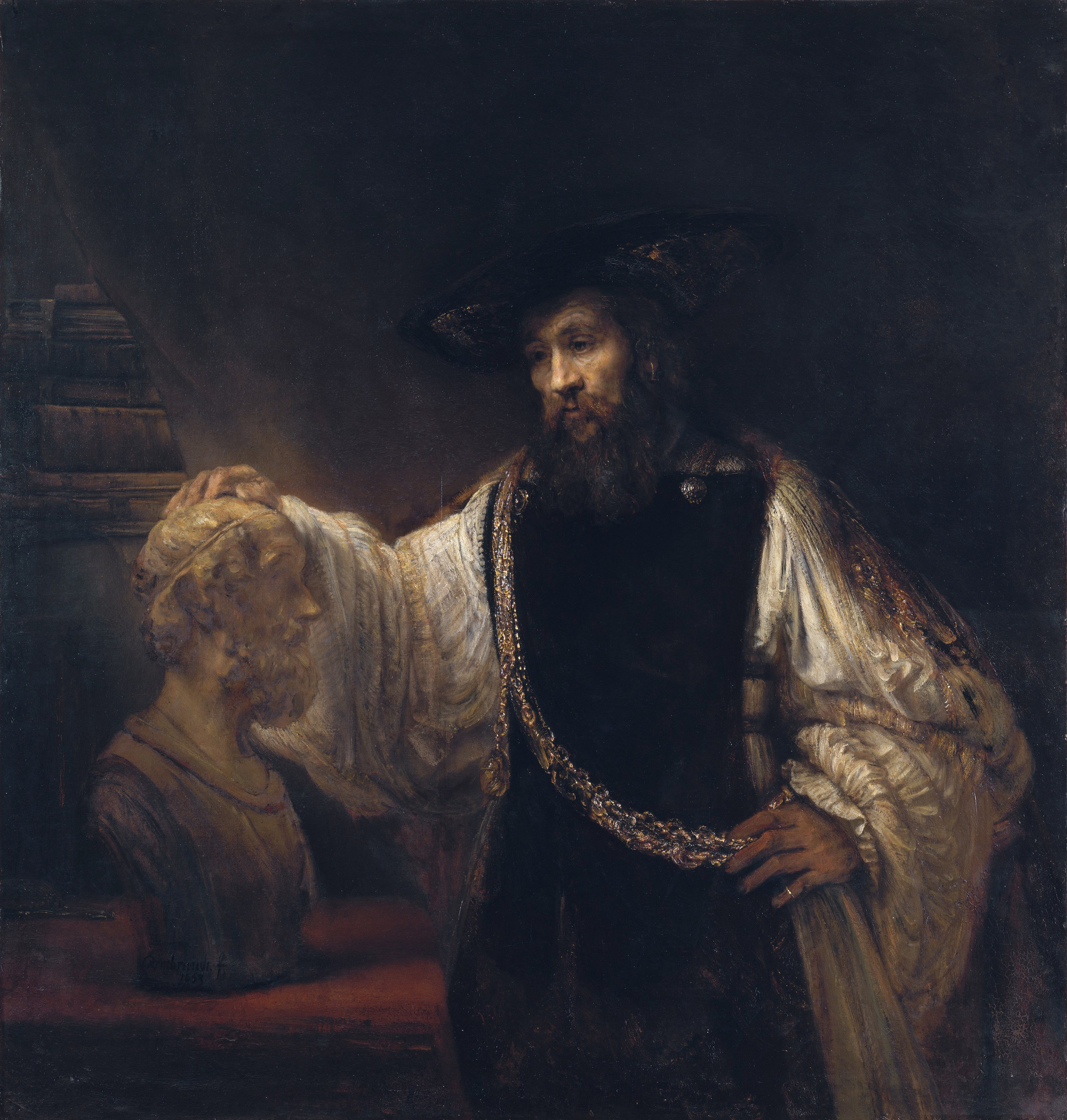 "Rembrandt's ""Aristotle Contemplating a Bust of Homer"" (1653, oil on canvas, The Metropolitan Museum of Art), is actually three portraits — Aristotle, Homer and, dangling from Aristotle's gold chain, an image of his most famous student, Alexander the Great."