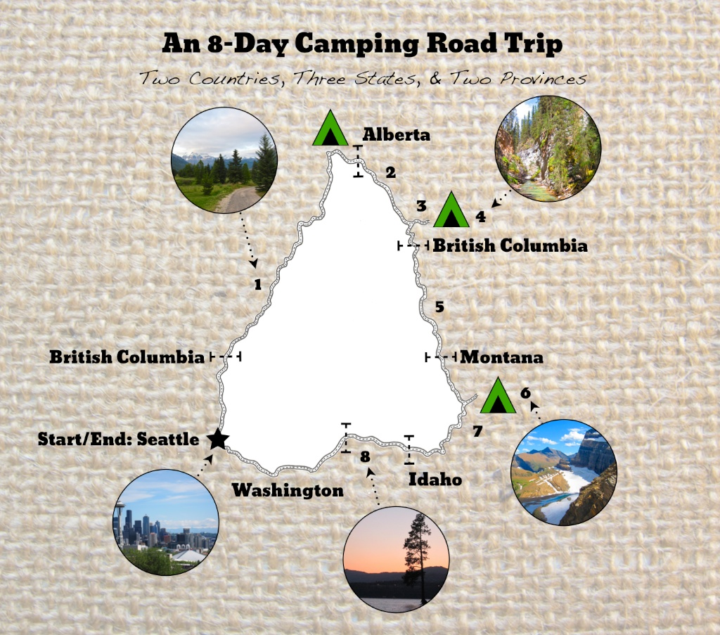 8 Day Camping Road Trip Itinerary www.glutenfreetravelette.com