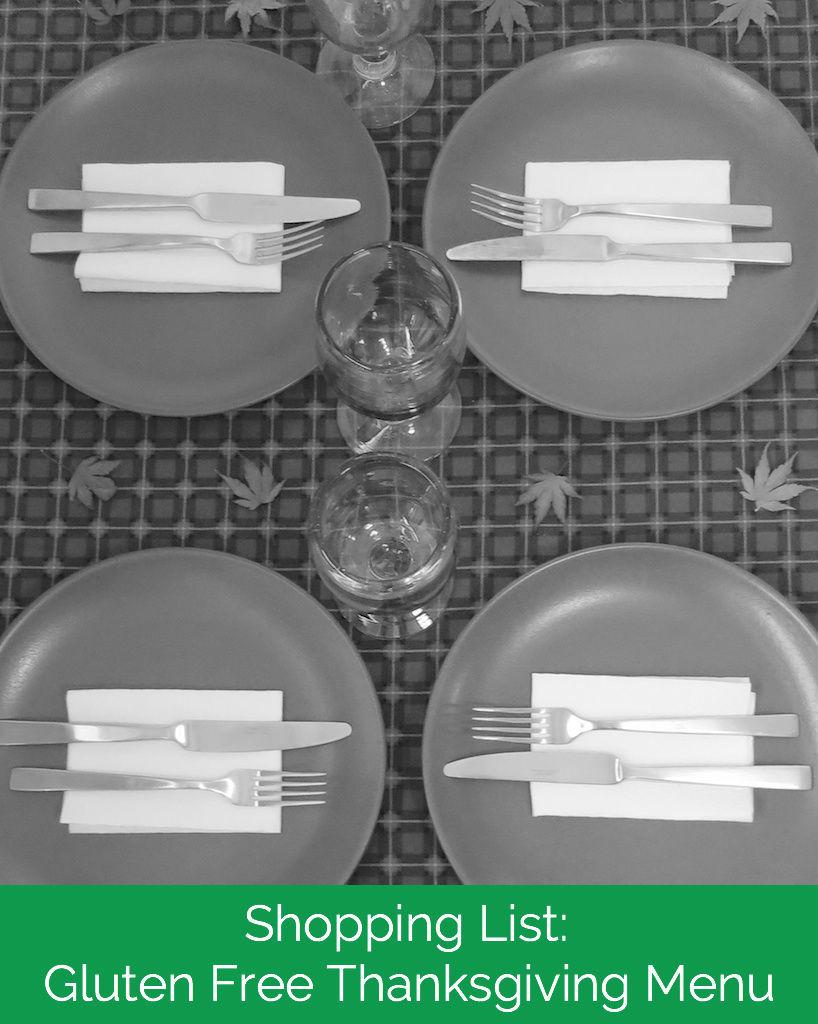 Shopping List: Gluten Free Thanksgiving Menu
