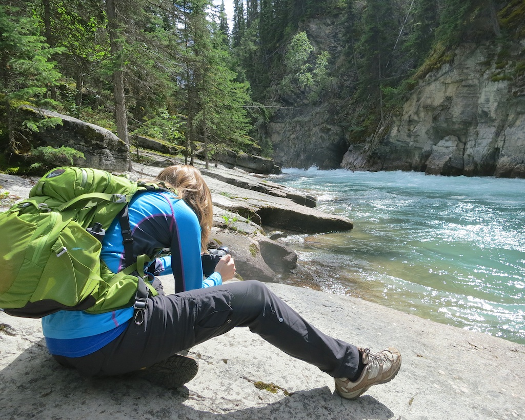 Filming in Maligne Canyon