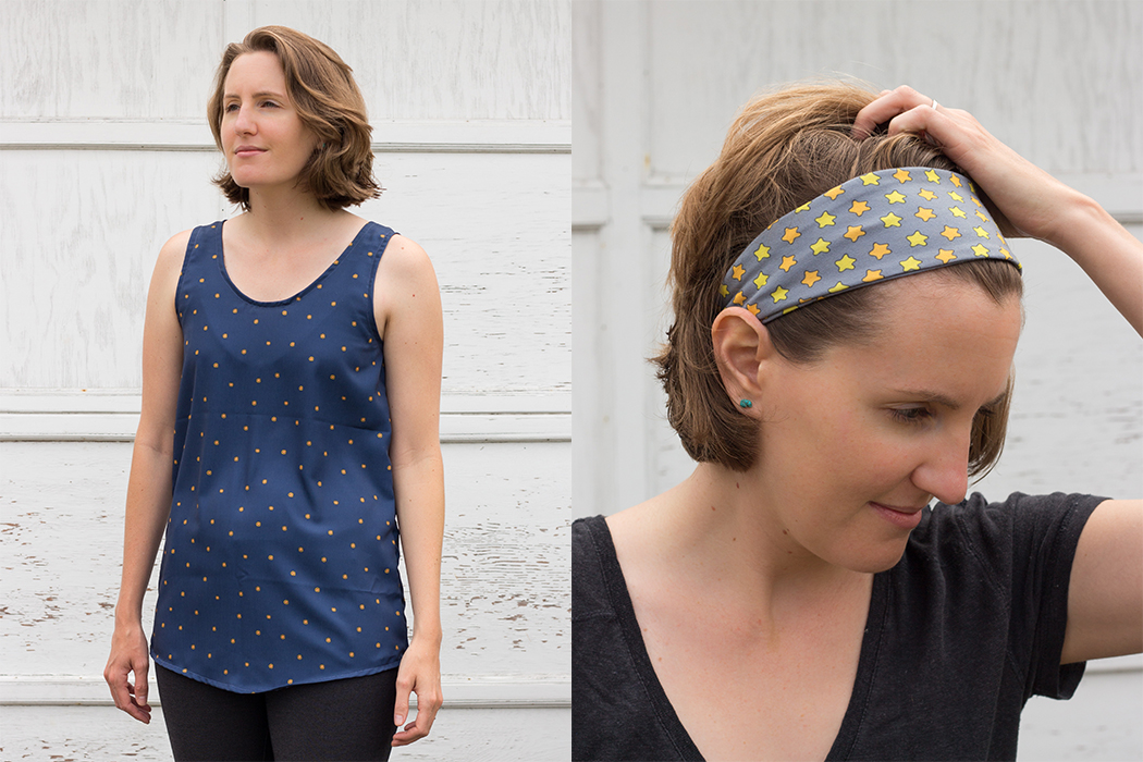Samples from the Tofino Collection - A Eucalypt Tank and headband.