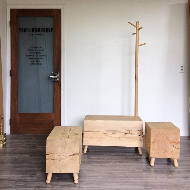Entrance seating concept featuring a small herd of Hemblocks @yewwoodshop #blockparty #wood #eastvan #design #characters #woodworking #entrance #seating #furniture