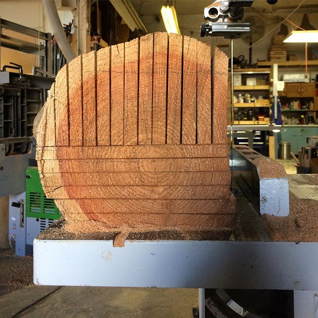 Milling #cedar on the #resaw. @yewwoodshop #wood #woodworking #design #eastvan #local