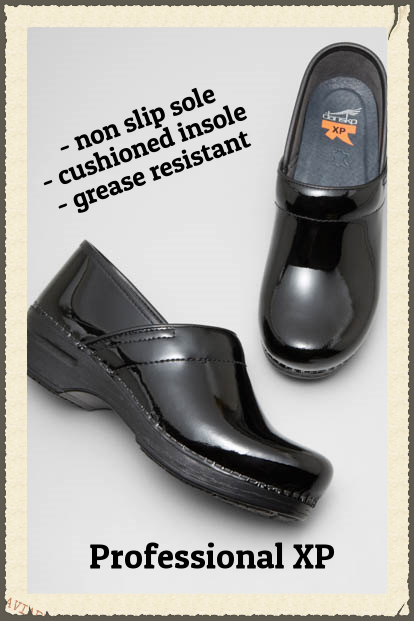 Professional XP by Dansko. Available in many different leather & color options in a plethora of sizes.