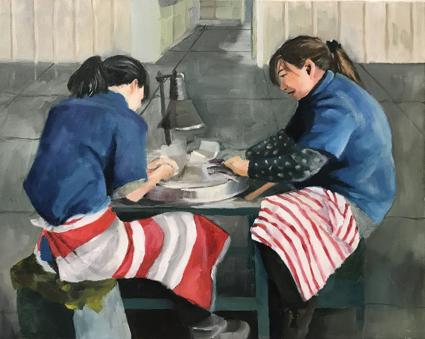 """The Polishers , 2017, 16""""x20"""", Oil on Canvas"""