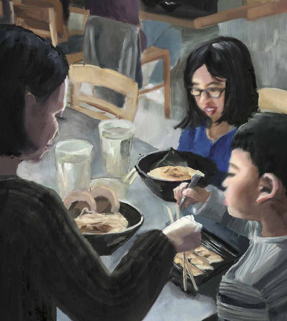 """Mother and Children , 2017, 16""""x20"""", Oil on Canvas"""