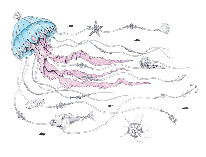 Jellyfish Tangle – by Bec Crockett – Graphite Pencil and Watercolour wash on Arches paper.