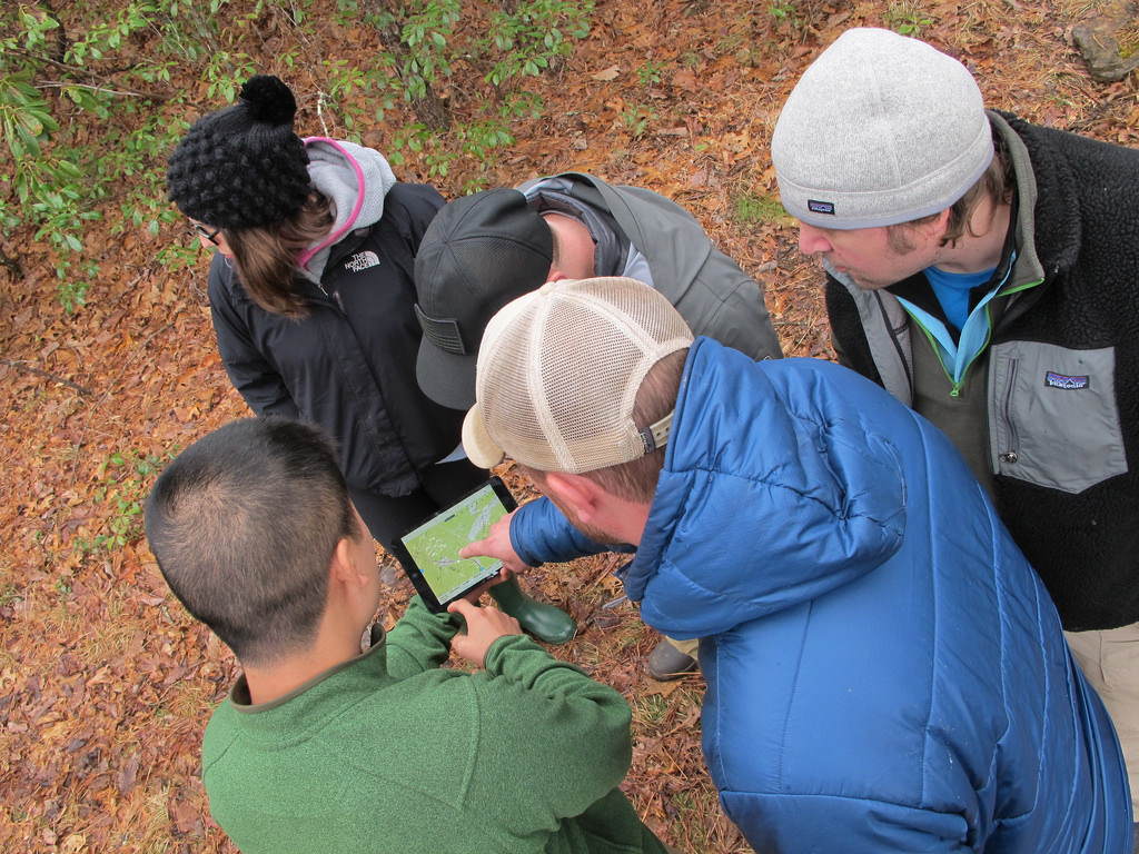 Alex from Dirt Road Trip uses an iPad to help us navigate Big Walker Mountain.