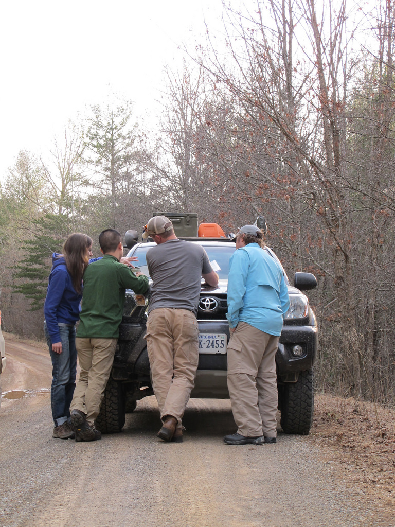 Huddled up for some last minute route planning on Tub Run Rd. in New Castle, VA.