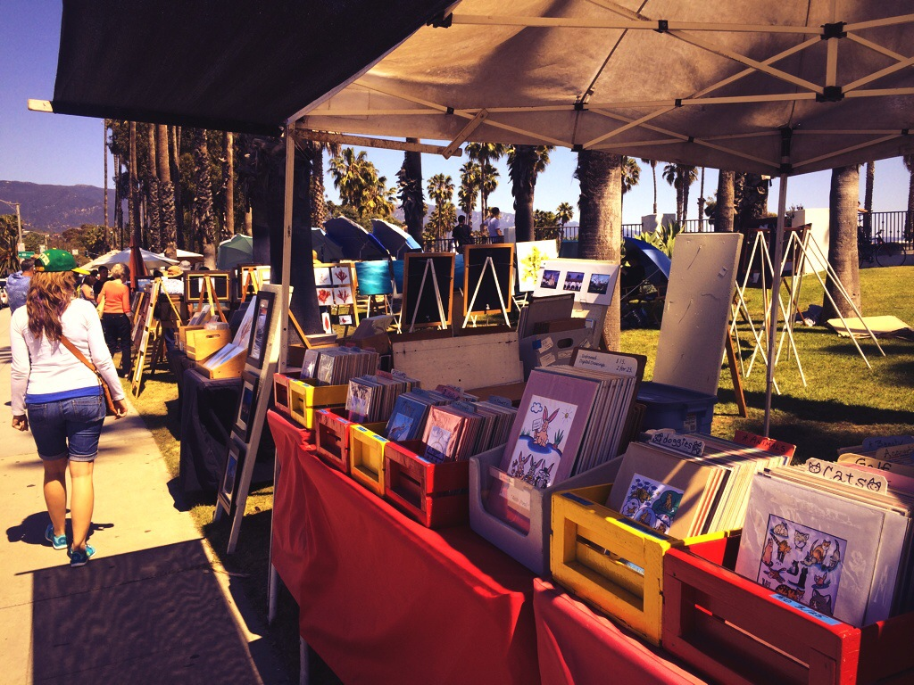 Miles of art work and colors scattered along the sidewalks of Santa Barbara.