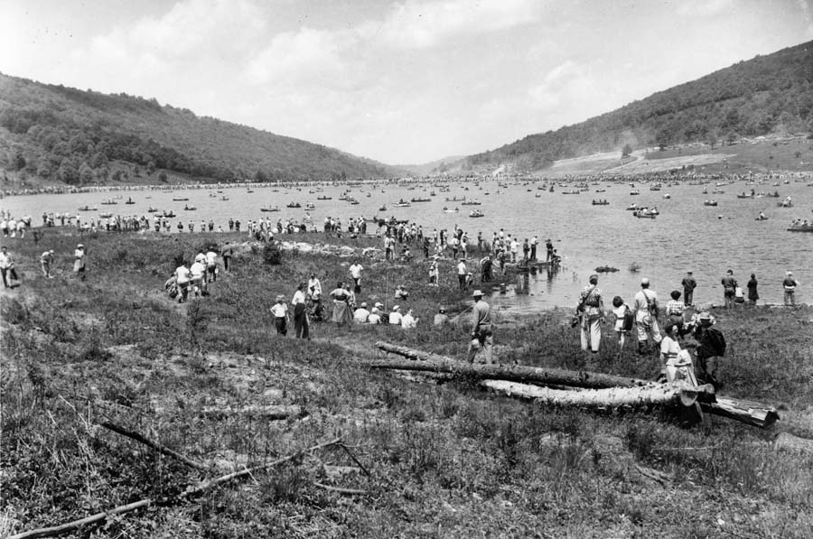 Just a portion of the 15,000 visitors that jammed Spruce Knob Lake on opening day circa 1953