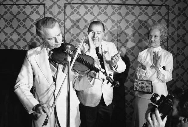 Robert C. Byrd playing the fiddle in 1976, US Senator from WV.