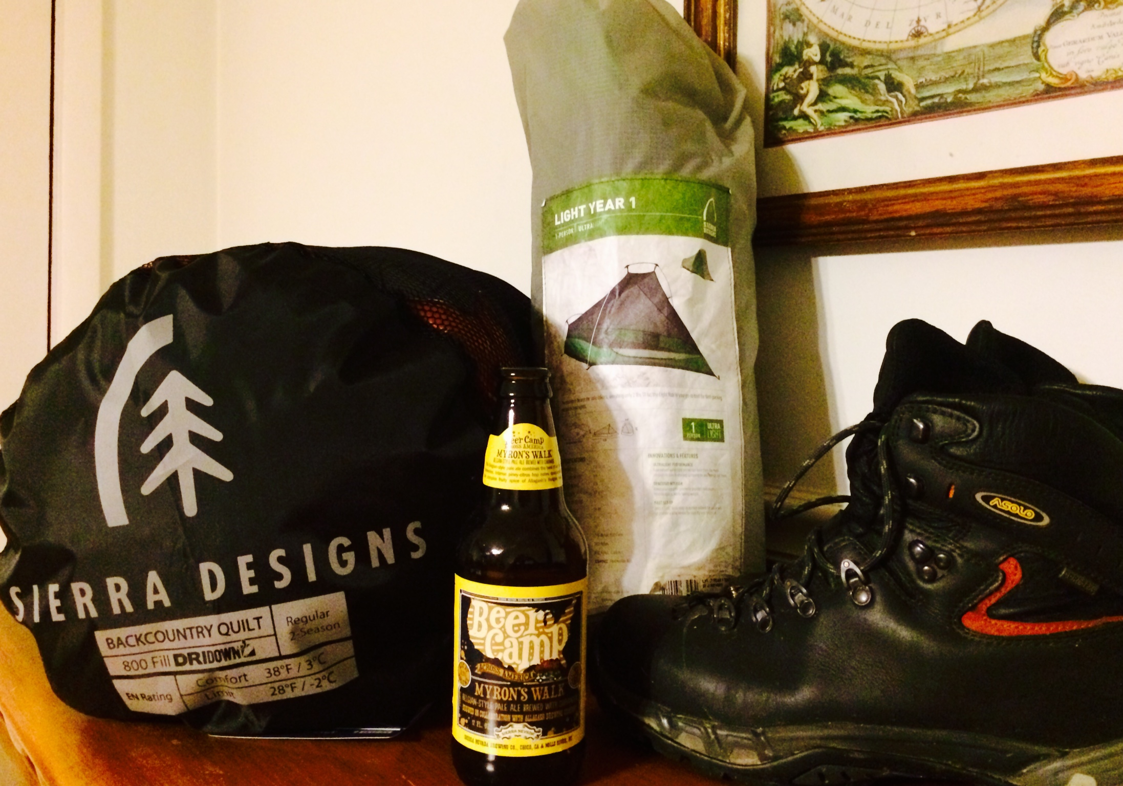 In honor of the thru hikers on the A.T., Sierra Designs Light Year 1 (which survived the 2012 derecho in the Cranberry backcountry and was a staple for thru hikers),  Sierra Designs new Backcountry Quilt, and Asolo hiking boots.