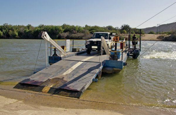 Ferry ride across the Orange River.