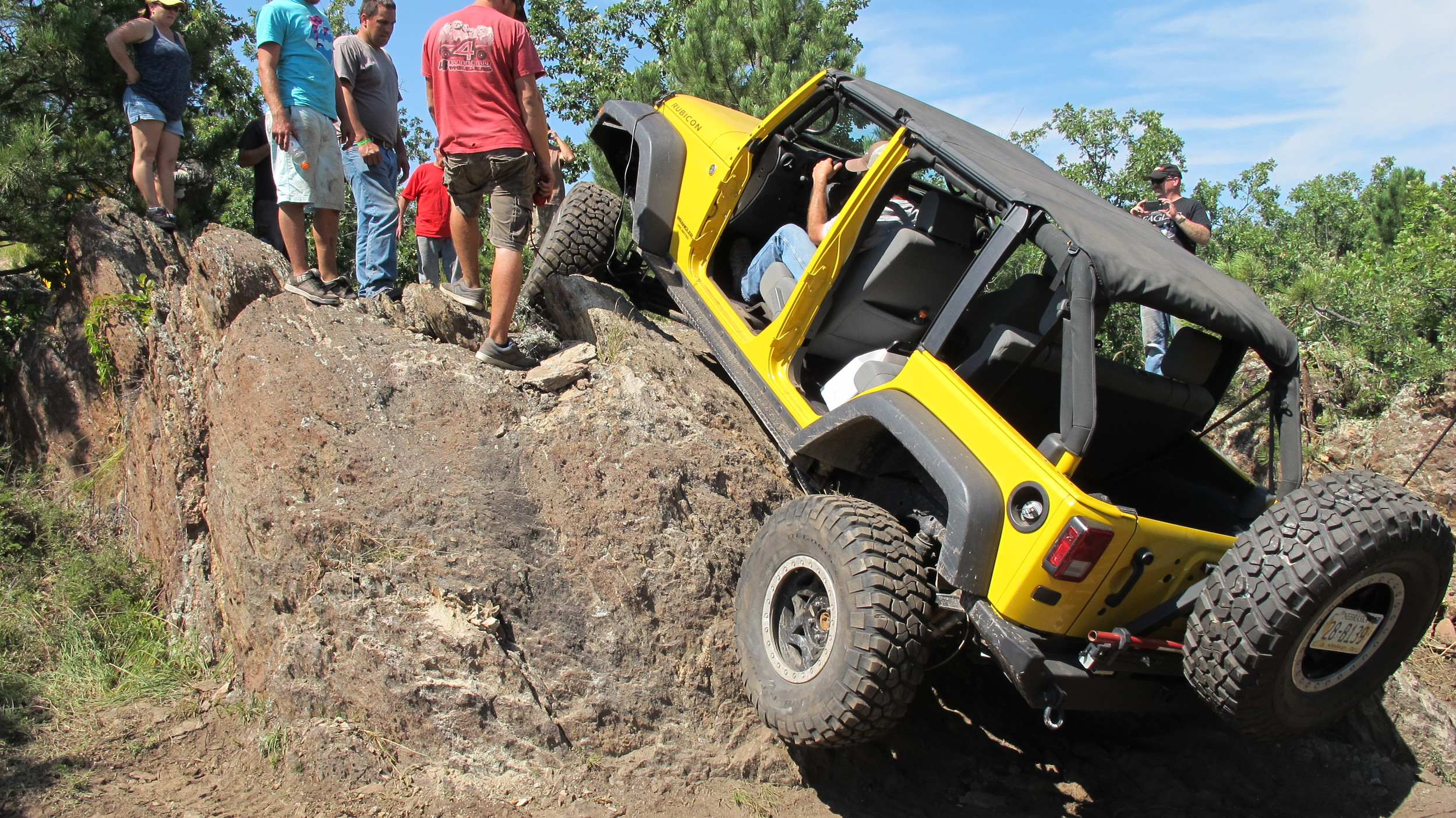 More than one spotter assisting on some of the more technical features on the trails.