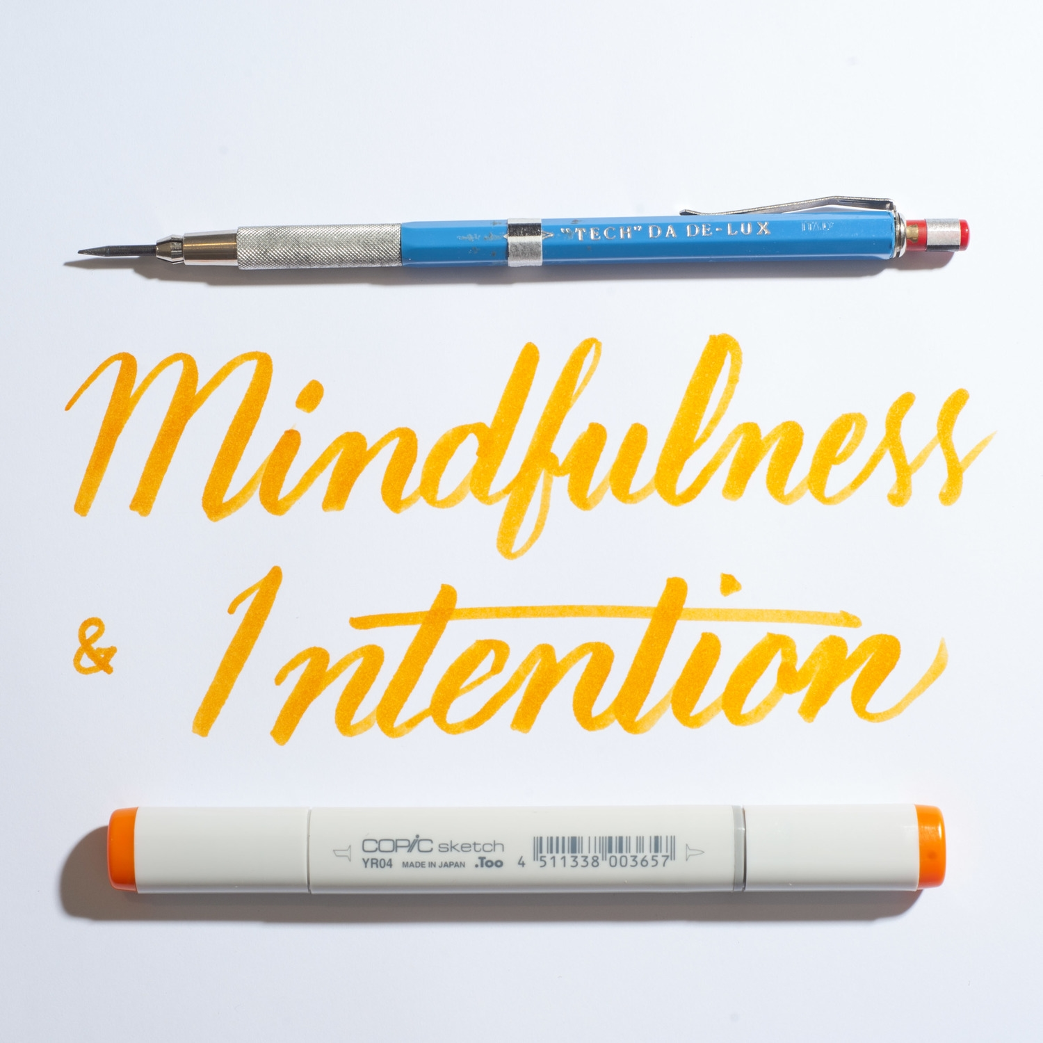 mindfulness, intention, lettering, brush calligraphy