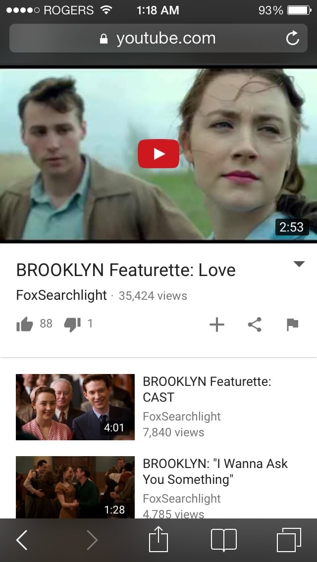 Brooklyn : in my opinion, greatest movie this year in 2016.