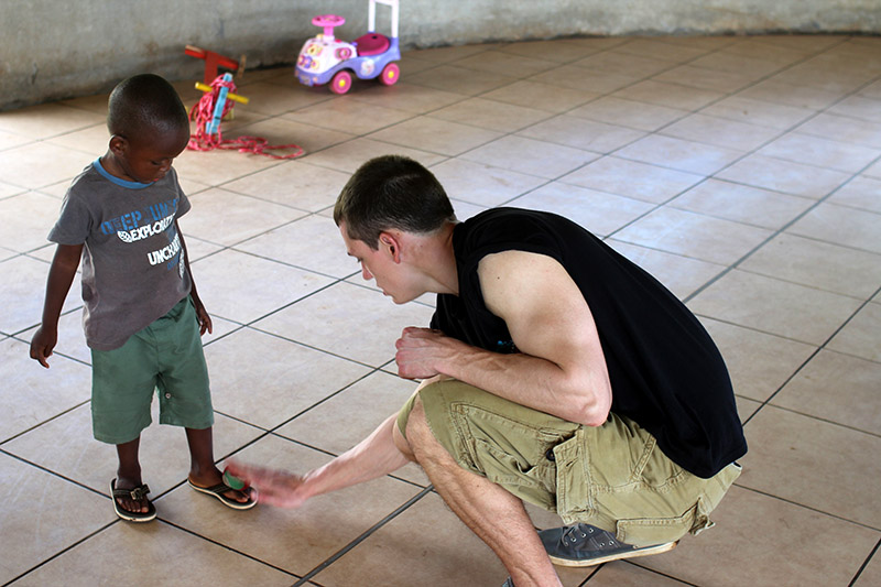 Zach worked continually all day with cleaning floors, windows, transporting items, and spent time with children. He taught a young boy named Kona how to hacky sack. The kids enjoyed him and it was difficult for him to say goodbye!