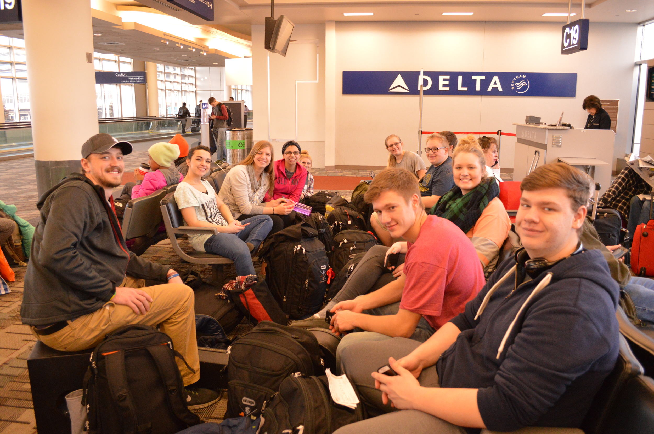 Waiting to board our flight to South Africa!
