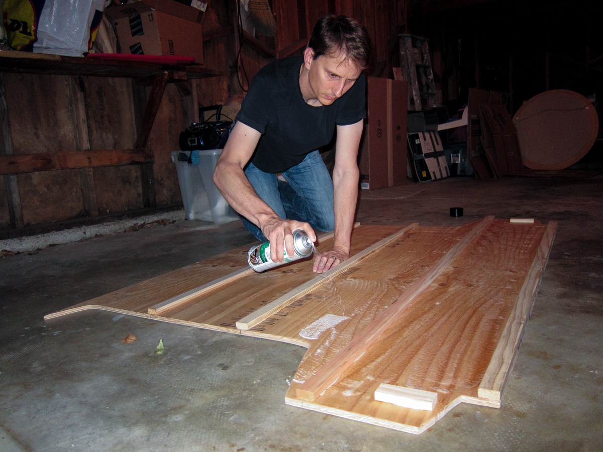 Spray adhesive for attaching the insulation to the subfloor.