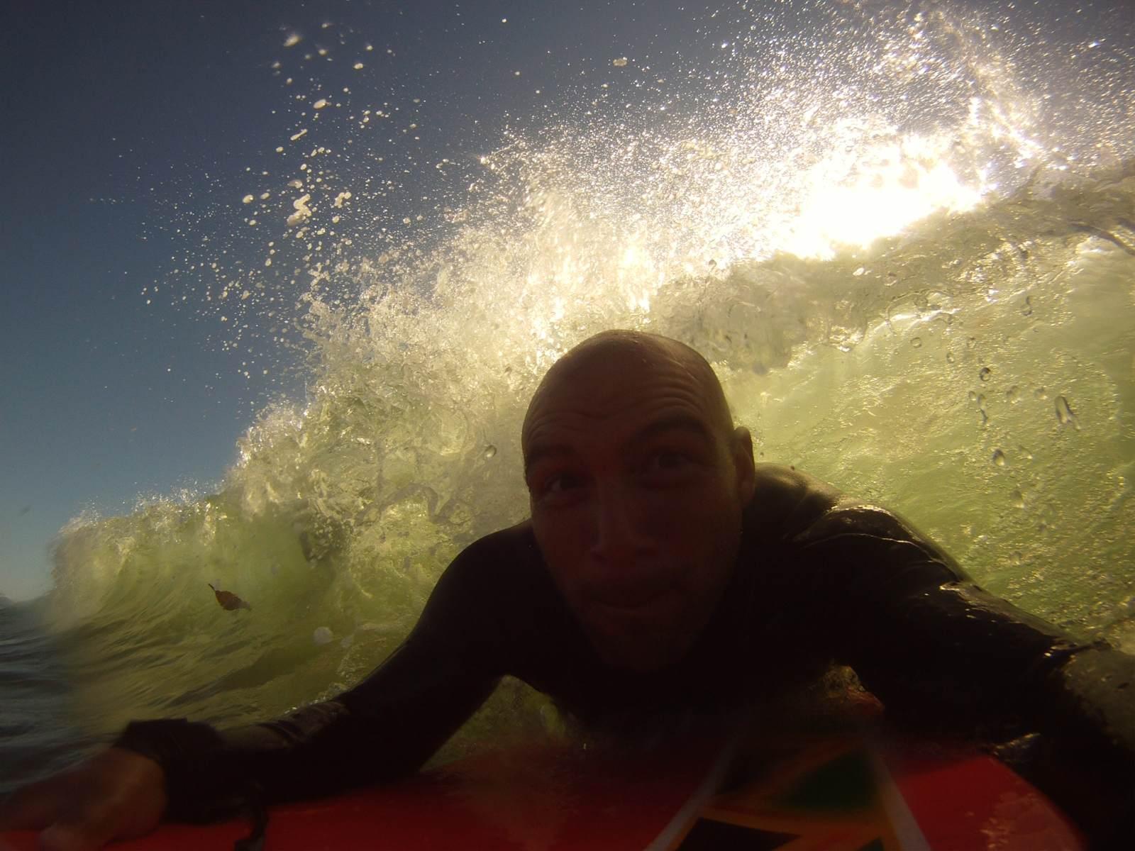 Boogie boarding in Santa Cruz